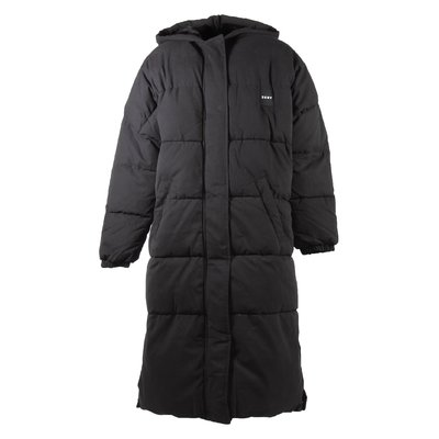 Black nylon padded jacket with hood