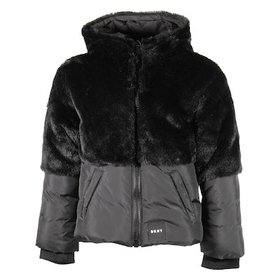 Black faux fur hooded down jacket