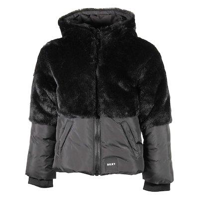 Giubbino nero con pelliccia ecologica e cappuccio