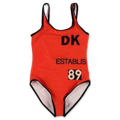 DKNY red lycra one-piece swim suit