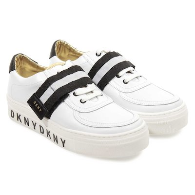 White logo detail leather sneakers