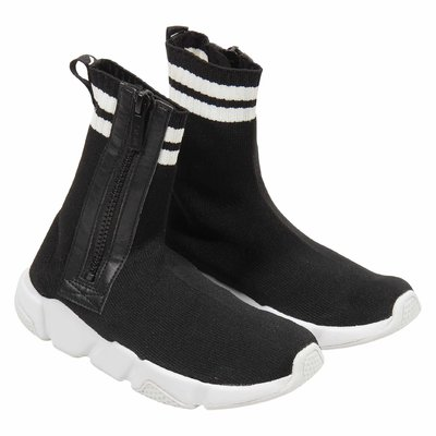 Black stretch knit slip-on sneakers