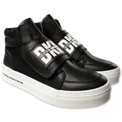 DKNY black logo detail faux leather sneakers