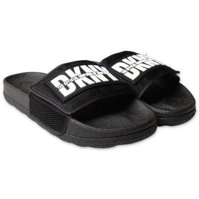 DKNY black rubber slippers