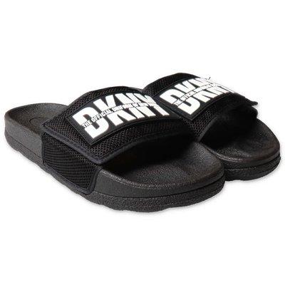 DKNY sandali neri in gomma con logo