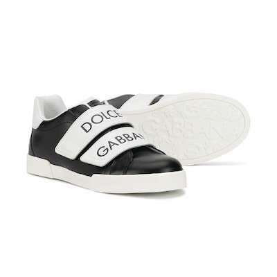 Black & white leather sneakers