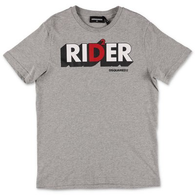 DSQUARED2 Rider melange grey cotton jersey t-shirt