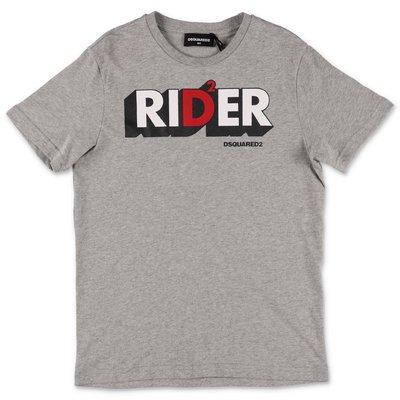 DSQUARED2 t-shirt grigio melange Rider in jersey di cotone