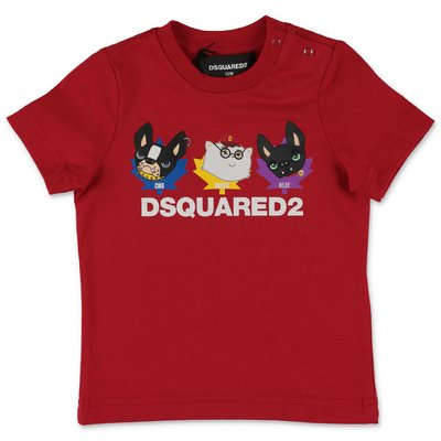 DSQUARED2 t-shirt rossa in jersey di cotone