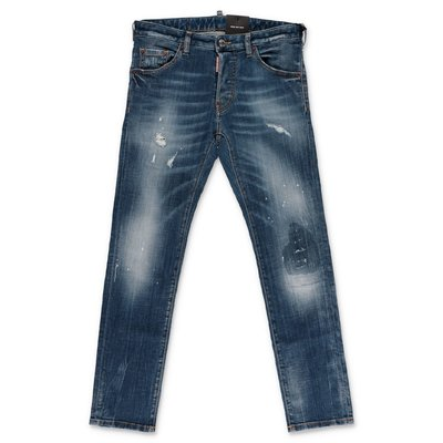 DSQUARED2 jeans blu in denim di cotone stretch effetto vintage