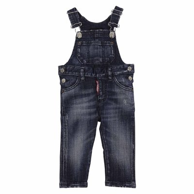 Blue stretch cotton denim vintage effect overalls