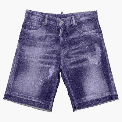 Shorts blu in denim di cotone