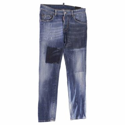 Vintage effect stretch cotton denim jeans