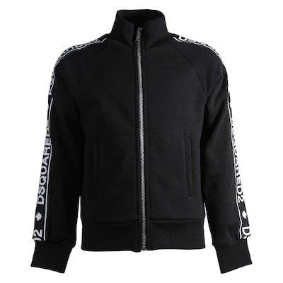 Black cotton zipped sweatshirt