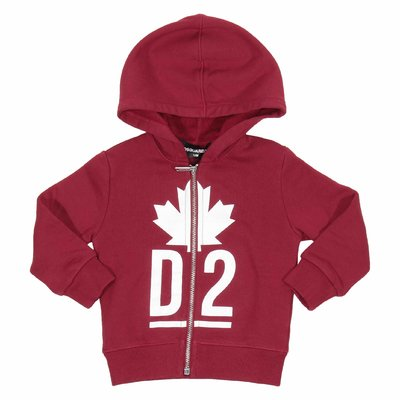 Felpa rossa Maple Leaf con zip e cappuccio
