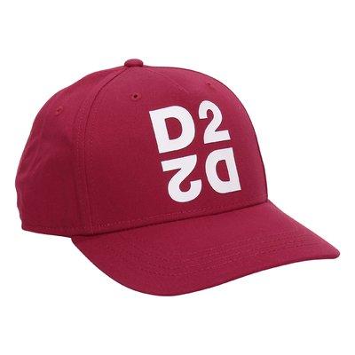 Red logo detail cotton canvas baseball cap