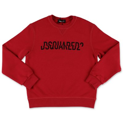DSQUARED2 red logo detail cotton sweatshirt