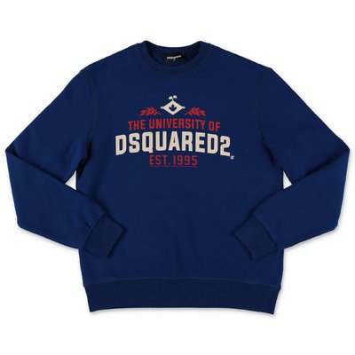 DSQUARED2 blue logo detail cotton sweatshirt