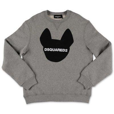 DSQUARED2 melange grey logo detail cotton sweatshirt