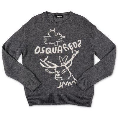 DSQURED2 dark grey wool blend knit jumper