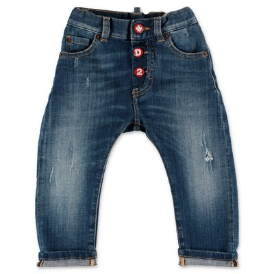 DESQUARED2 blue stretch cotton denim vintage effect jeans