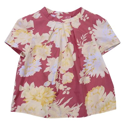 Floral print cotton poplin blouse