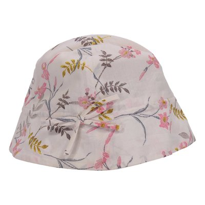 Floral print cotton poplin hat