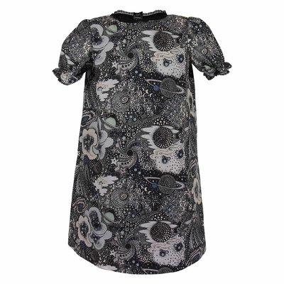 Black universe print cotton dress