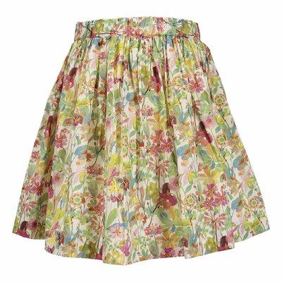 Green floral print cotton poplin skirt