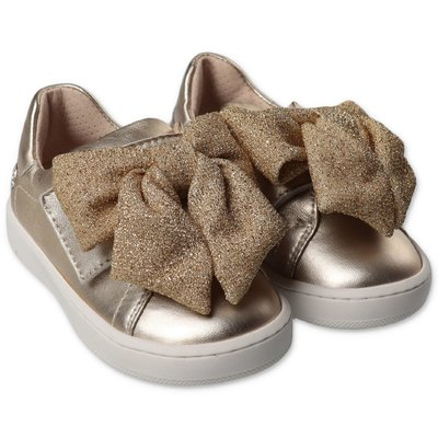 Florens sneakers oro in pelle con velcro