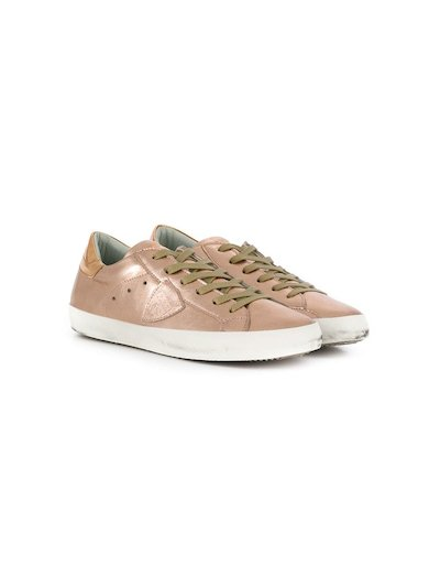 Metal pink leather sneakers