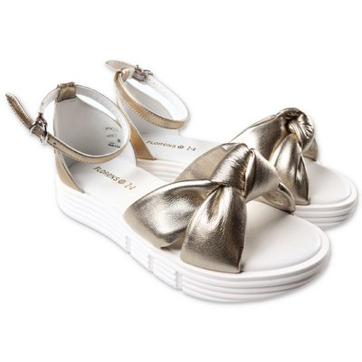 Florens gold leather sandals with decorative knot