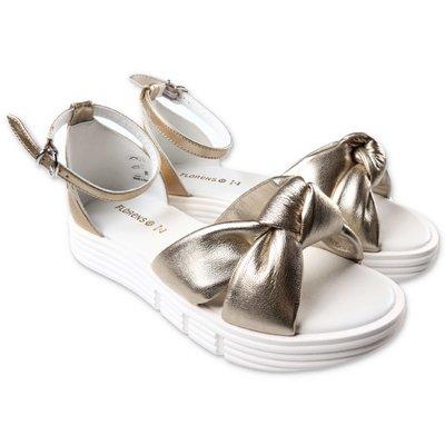 Florens sandali oro in pelle con nodo decorativo