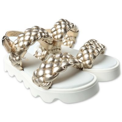 FLORENS golden leather weave pattern sandals