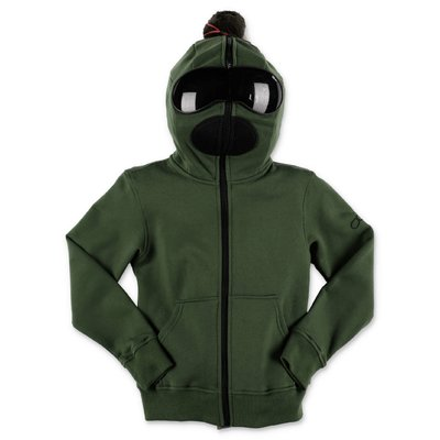 AI RIDERS ON THE STORM military green cotton hoodie with lenses