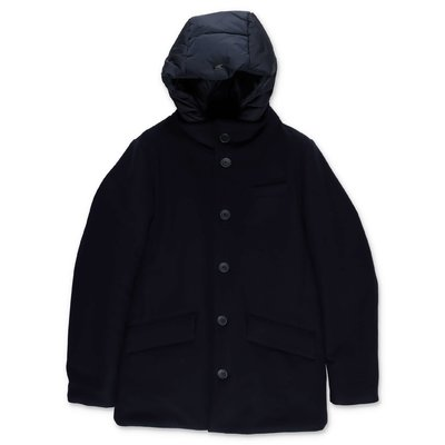 HERNO blue wool & nylon cloth coat with hood