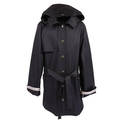 Navy blue cotton canvas trench coat with hood