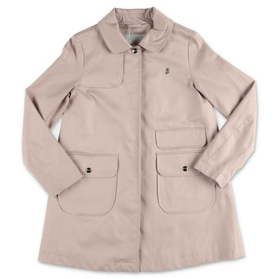 HERNO pink cotton canvas trench coat