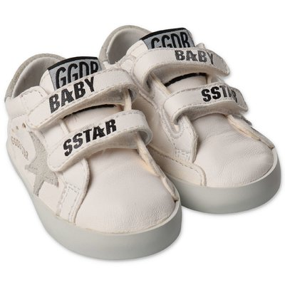 Golden Goose Baby School white nappa leather sneakers with velcro