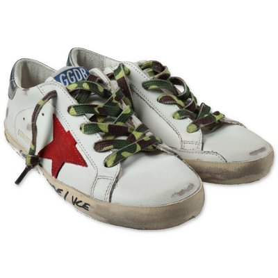 Golden Goose white Super Star classic leather sneakers with laces
