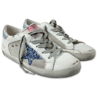 Golden Goose white Super Star leather sneakers with laces and non-woven fabric insert