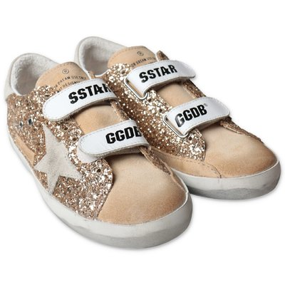 Golden Goose gold Old School Edt suede glittery sneakers