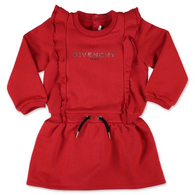Givenchy red logo detail cotton sweatshirt dress