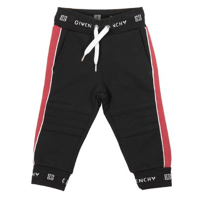 Black logo intarsia cotton sweatpants
