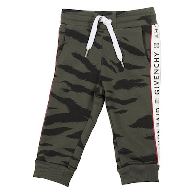 Pantaloni verde militare camouflage in felpa di cotone con logo