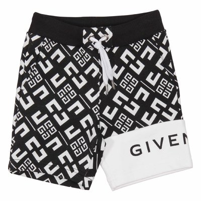 Black and white logo detail cotton sweat shorts