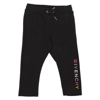 Pantaloni neri in felpa di cotone con logo