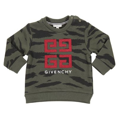 Camouflage military green 4G logo detail cotton sweatshirt