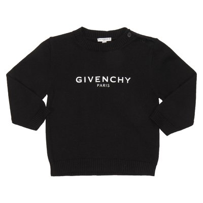 Black logo detail cotton knit jumper