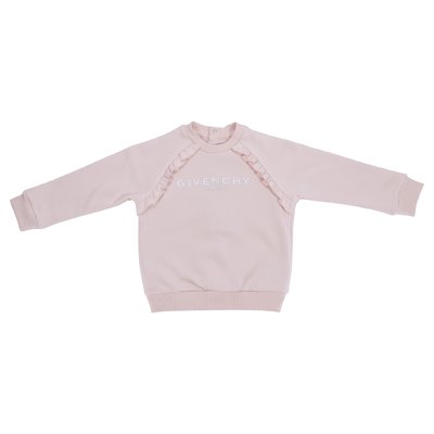 Powder pink logo detail cotton sweatshirt
